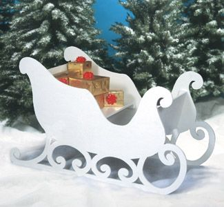 "3D Santa Sleigh Woodcraft Plan! Fill it with presents and it makes a great Yard Display! When it is totally constructed the Sleigh is approx. 35"" tall X 59"" long X 25"" deep. Easily take it apart and stack it for next year."