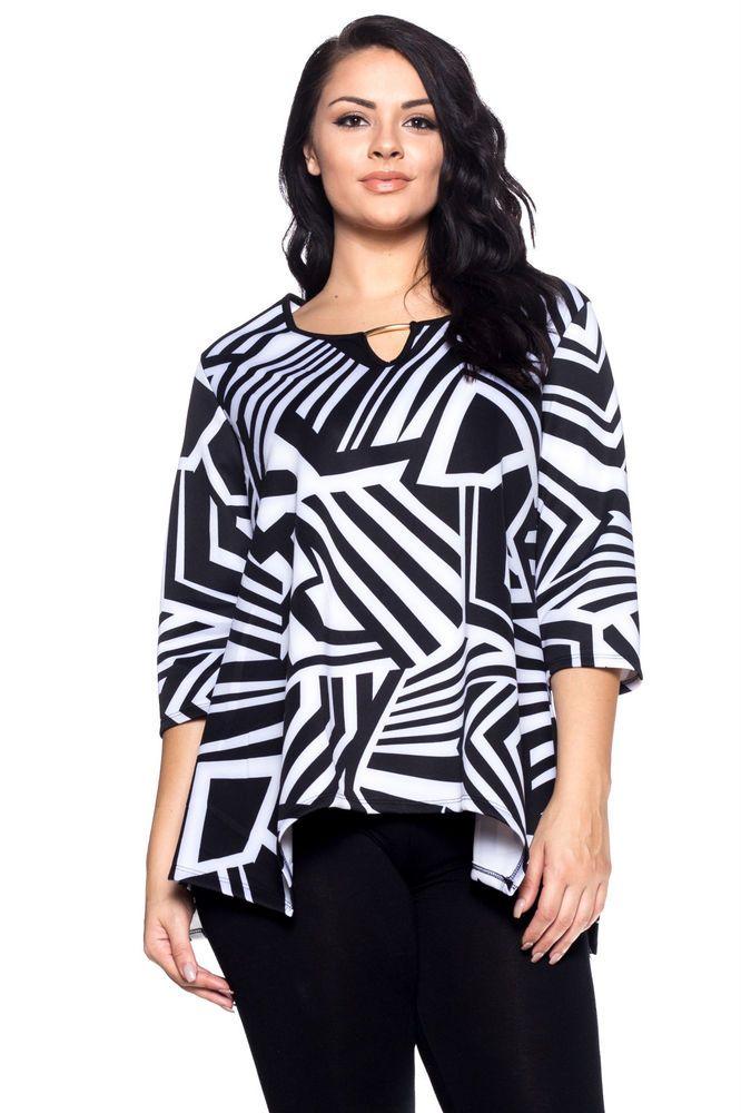 PLUS SIZE 1XL 2XL 3XL 4XL Womens Tunic Top HOT GINGER Black Geometric ¾ Sleeves  #HotGinger #Tunic #Casual