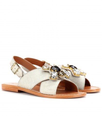 #Marni - Crystal-embellished calf hair sandals
