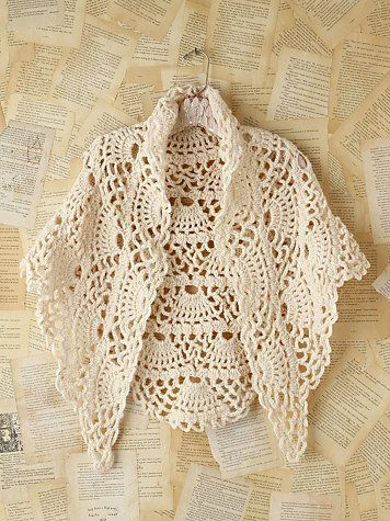 Vintage crochet poncho from Free People. ideas (I'm liking  this pattern, and thinking it can be used in scarfs, blankets, etc)