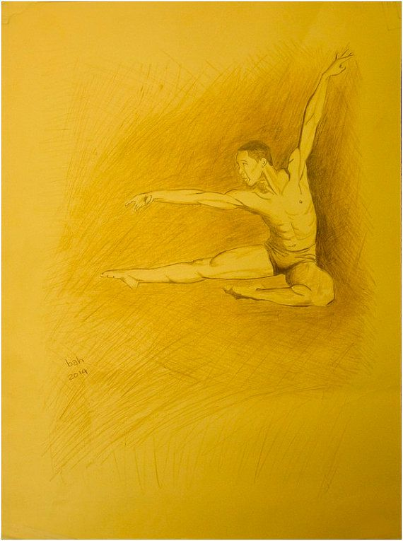 Young male dancer leaping with great strength and rippling muscles. Original drawing, ooak