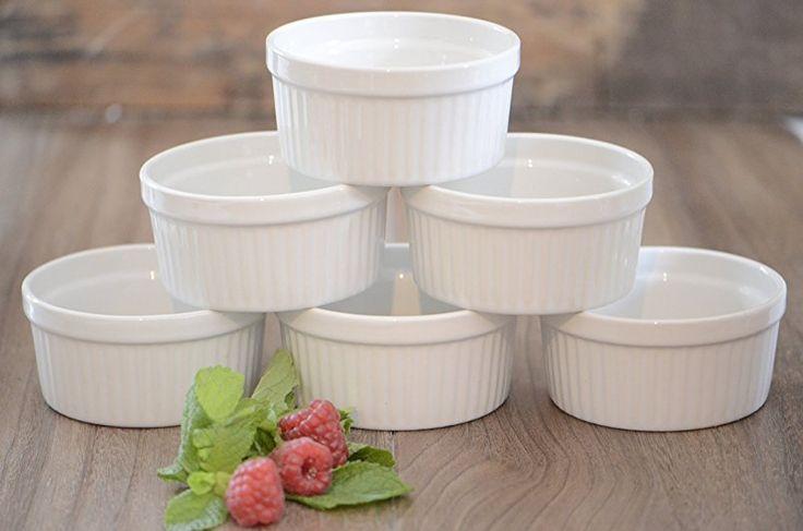 6 Stück Soufflé Souffle Förmchen Pastetenform Näpfchen - 9 cm Ø - Porzellan -