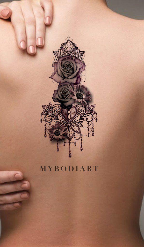Gothic Rose Mandala Chandelier Back Tattoo ideas for Women