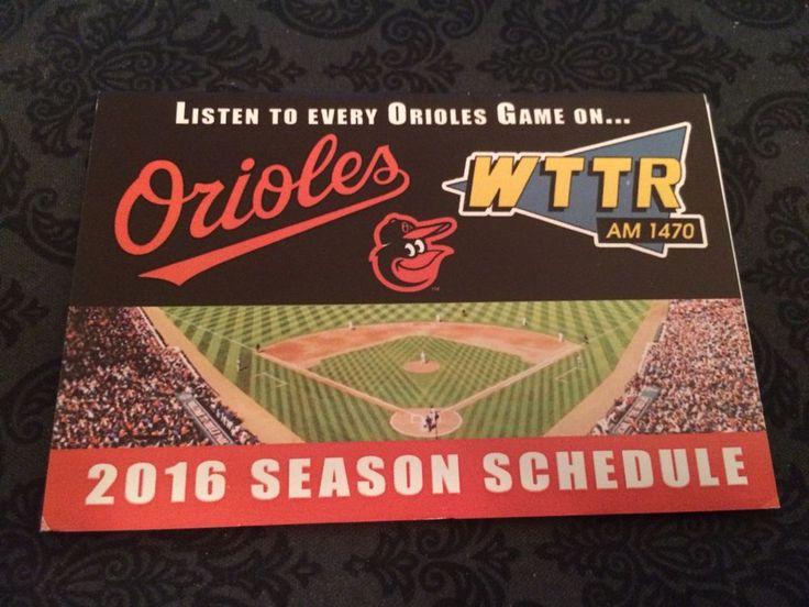 2016 Baltimore Orioles Pocket Schedule Radio Version #Pocket