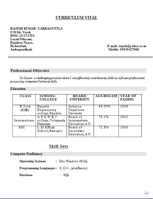 Curriculum Vitae Format Educational Resume Academic Curriculum