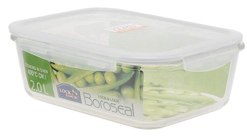 Boroseal II 8.4 Cup Heat Resistant Rectangular Glass Container with Lid