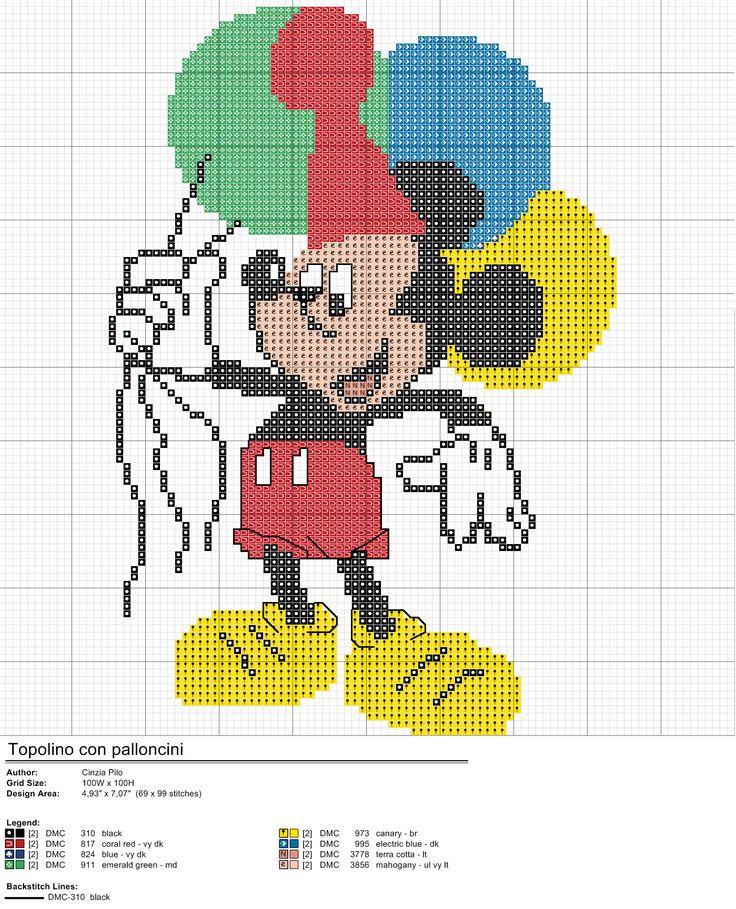 Schema punto croce Topolino con palloncini