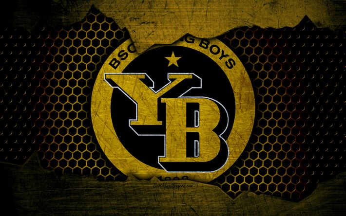 Download wallpapers Young Boys, 4k, logo, Swiss Super League, soccer, football club, Switzerland, grunge, BSC Young Boys, metal texture, Young Boys FC