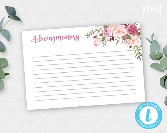 Pink Floral Share A Memory Card Instant Download Celebration Of Life Card Editable Funeral Card Printable Funeral Card Floral Funeral Pff2 Memorial Cards For Funeral Funeral Cards Memorial Cards