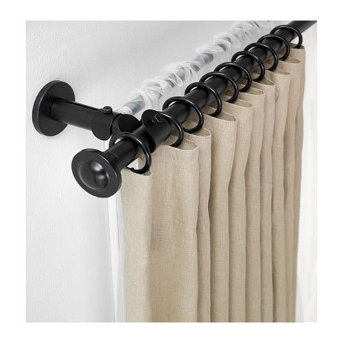 Could possibly use two sets of comand hooks to hand sheers and curtains in a rental house. The sheer rod would hide behind the curtains   STORSLAGEN Double curtain rod set  - IKEA