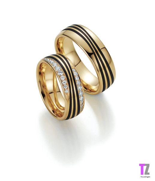 Apricot gouden trouwringen met Carbon en diamant.