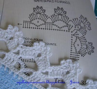 Agulhas e Pinceis: Biquinhos simples (Crochet edgings with instructions in Portuguese but with international diagram)