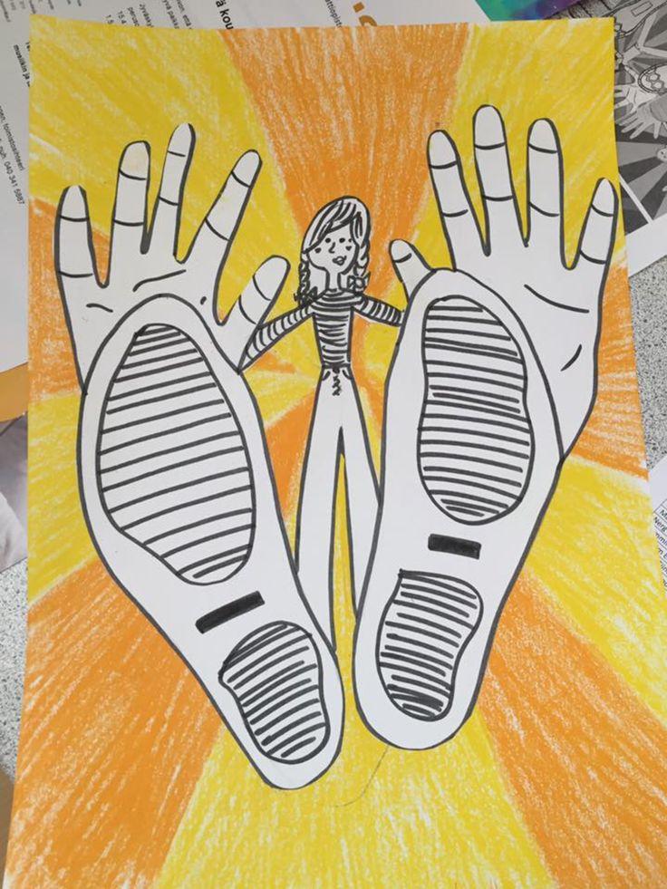 Meritta Lautamäki /Fb Alakoulun aarreaitta  Paperille seisomaan ja jalanjäljet, siihen päälle omat kädenjäljet ja perspektiivityylillä oma pieni vartalo siihen. Lapset tykkäsi kamalasti ja oli hauska piirtää omia jalkoja ja käsiä. Toinen paperi väritetään yksinkertaisesti kahdella värillä ja sit koko höskä leikataan irti ja liimataan siihen.