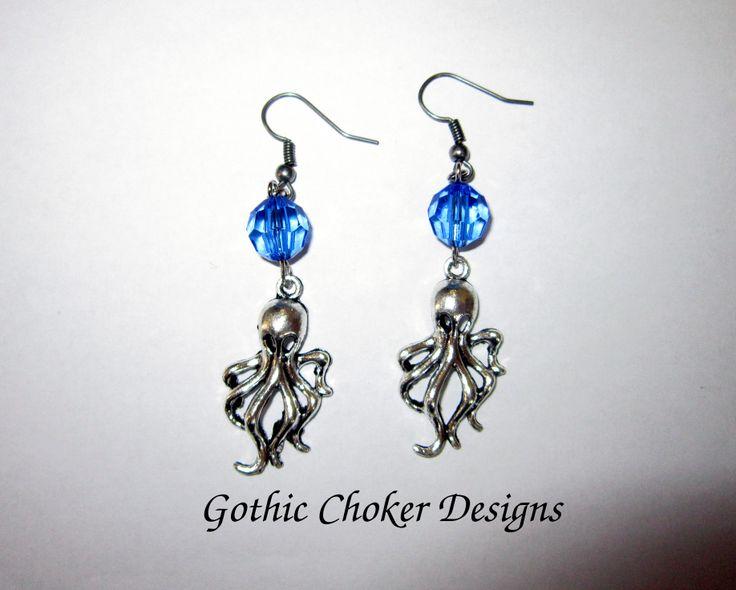 Cthulhu and blue bead earrings.  R60