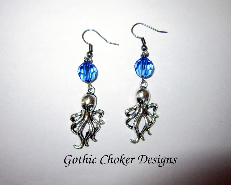 Cthulhu and blue bead earrings.  R60