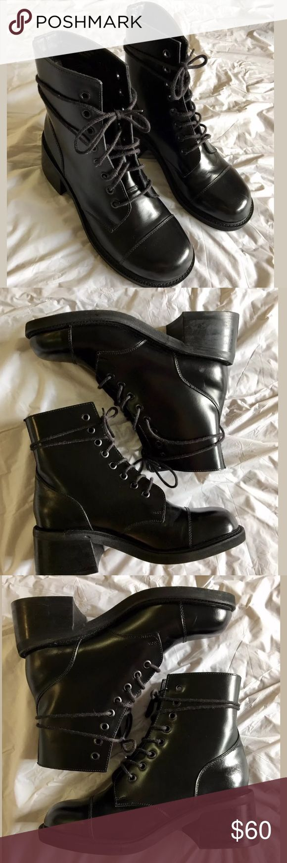 "Steve Madden Leather Moto Combat Boots Lace up black leather boots. Worn once , look brand new. 2"" heel & height 7"" Steve Madden Shoes Combat & Moto Boots"