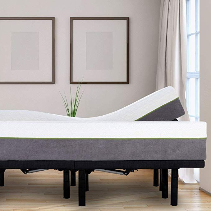 Blissful Nights Adjustable Bed Frame And 12 Inch Split King Copper Infused Cool Memory Foam Mattress Me Adjustable Beds Adjustable Bed Frame Bed Frame Mattress