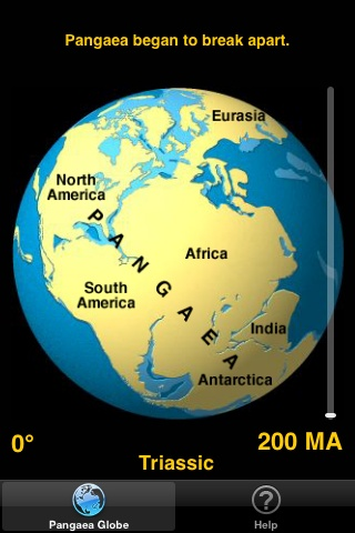 Version 2.0 for iPhone and iPad is now available. The pangaea app by Tasa Graphic Arts dynamically shows the breakup of the supercontinent Pangaea and the positions of the continents over the last 200 million years. Illustrated by Dennis Tasa. Earth science geology app available for the iPod and iPhone.