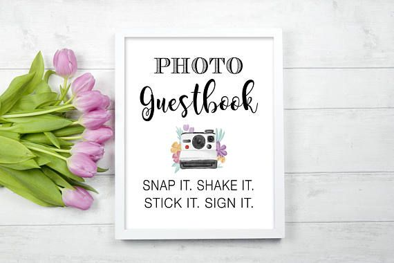 Photo Guestbook Polaroid Guest Book Photo Booth Snap Shake Stick Sign It  Boho Poloroid Picture printable digital file DIY Download Wedding Reception Ceremony Printed Sign