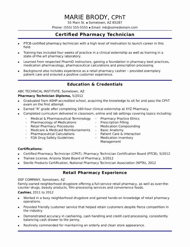 Unique Functional Pharmacy Technician Resume Template Pharmacy Technician Resume Resume Objective