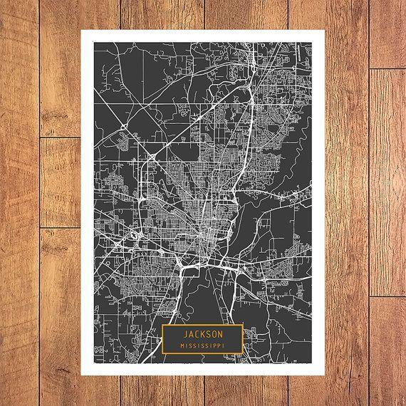 JACKSON Mississippi City Map Jackson Mississippi by JackTravelMap