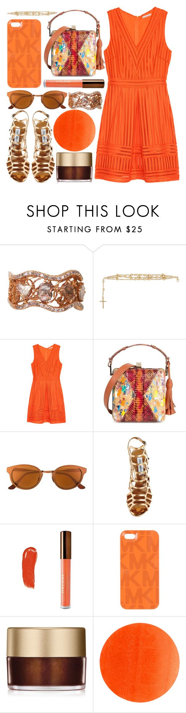 """sweet orange juice"" by foundlostme ❤ liked on Polyvore featuring L'Dezen, Givenchy, H&M, Jill Haber, RetroSuperFuture, Steve Madden, Orlane, Michael Kors, Stila and Illamasqua"