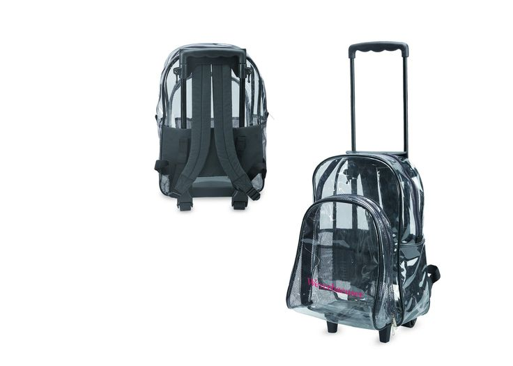 Clear Backpack With Wheels. Dual zipper opening. PVC piping. Zippered front pocket with organizer. Plastic telescoping handle. PVC folding wheels.