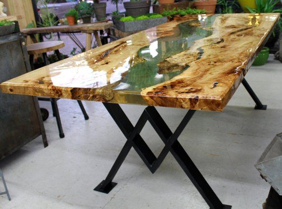 Resin River Dining Table Dining Table Slab Dining Tables Wood