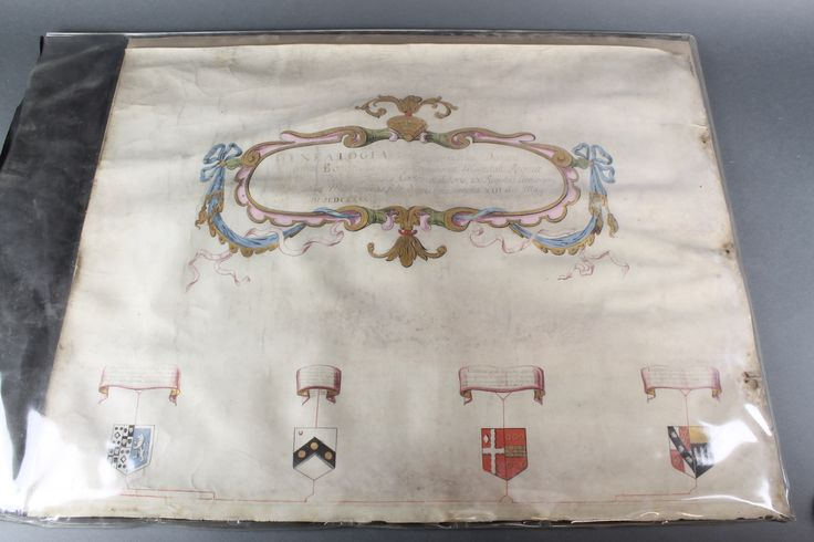 """Lot 304, A """"Grant of Arms"""" referring to Thomas Bonde 1669, 23"""" x 29"""" sold for £240"""