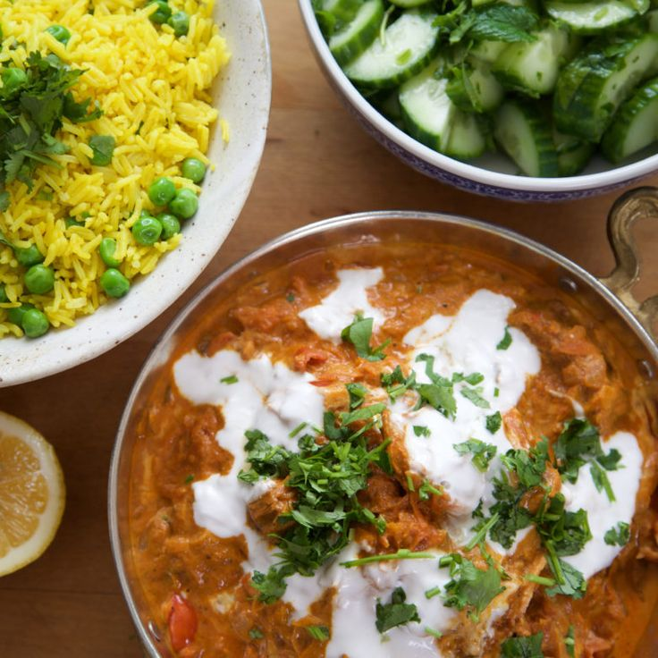 Butter chicken with turmeric pea rice and cucumber mint salad