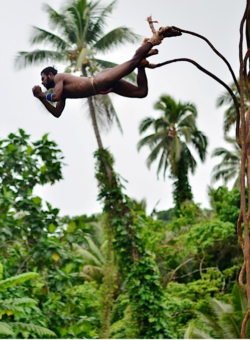 Naghol (land diving) is a tradition rite of passage for young men on the island of Pentecost, Vanuatu