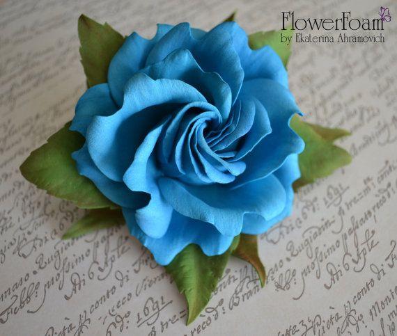 """Цветы из фоамирана. Брошь-заколка роза """"Аелла"""". Фоамиран. flowers in her hair"""