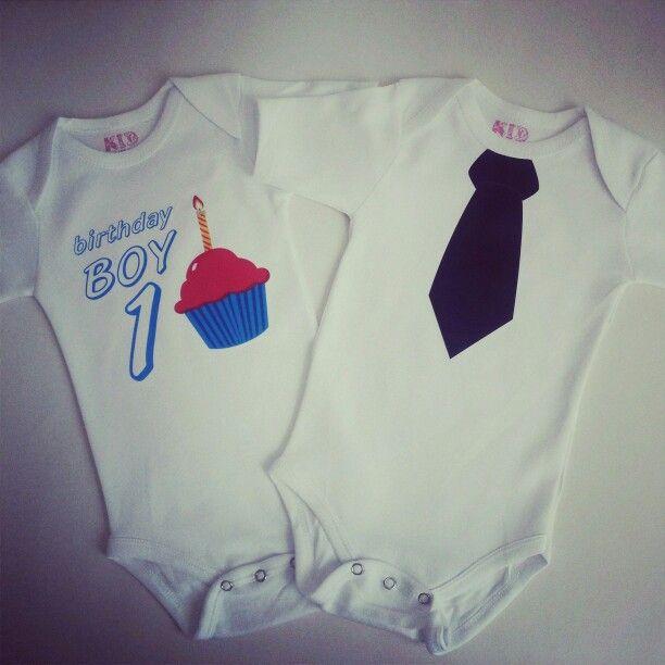 Birthday boy onesies - #blacktie #cupcakes