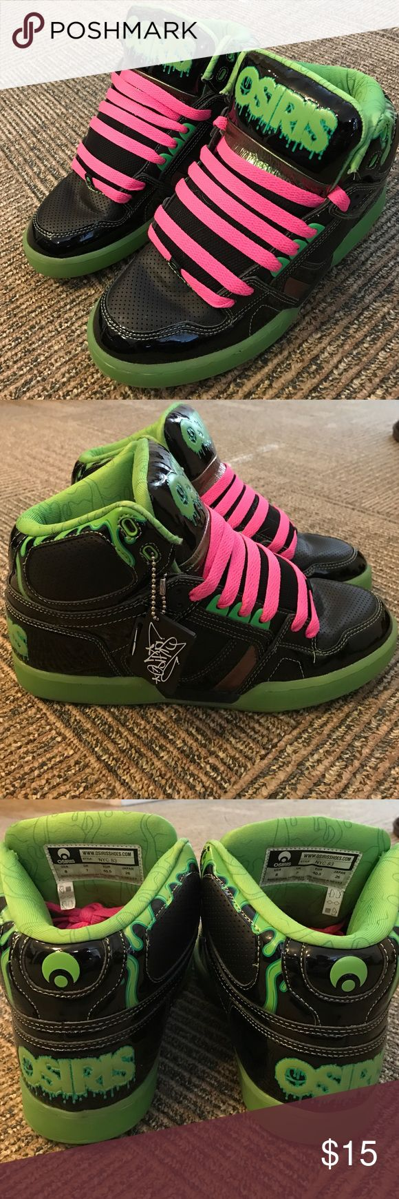 Osiris Shoes NEVER WORN. Lime green and black authentic Osiris kicks with hot pink laces. They are brand new with out the box. Size 8 in mens, equivalent to about 9 in women's. Originally $6. Osiris Shoes Sneakers