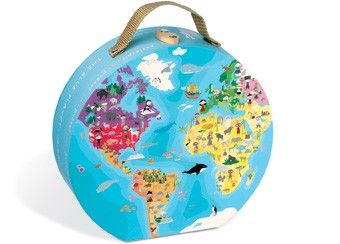 koffertje met blauwe planeet puzzel 208 st Janod | kinderen-shop Kleine Zebra
