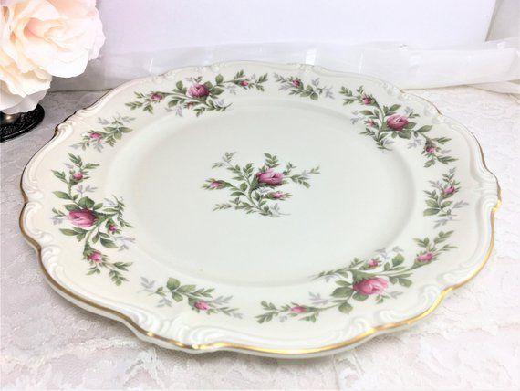 Rosenthal Antoinette 10 Inch Large Dinner Plates Set Of Two 2 Moss Rose Pompadour Shape Selb Germany Selb Dinner Plates Plates