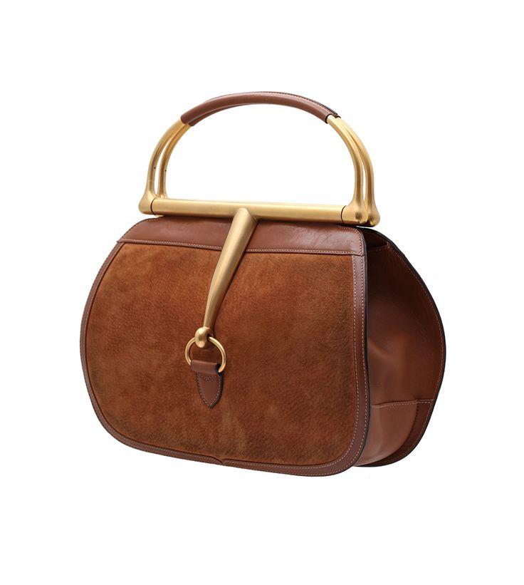 Gucci Vintage Horsebit Handbag In Brown Suede
