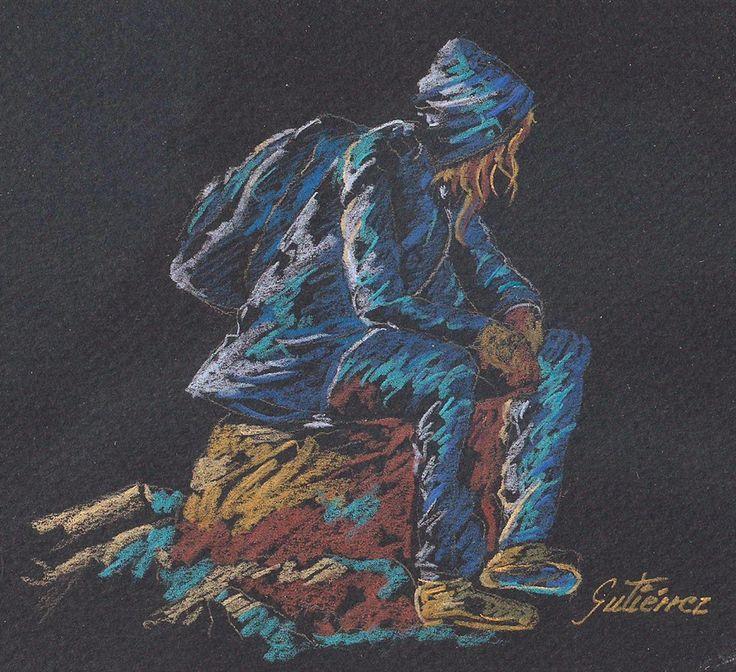 Ángel Gutiérrez. Lapiz de color sobre Canson negro. Dibujado a partir de una foto que encontré en Pinterest.