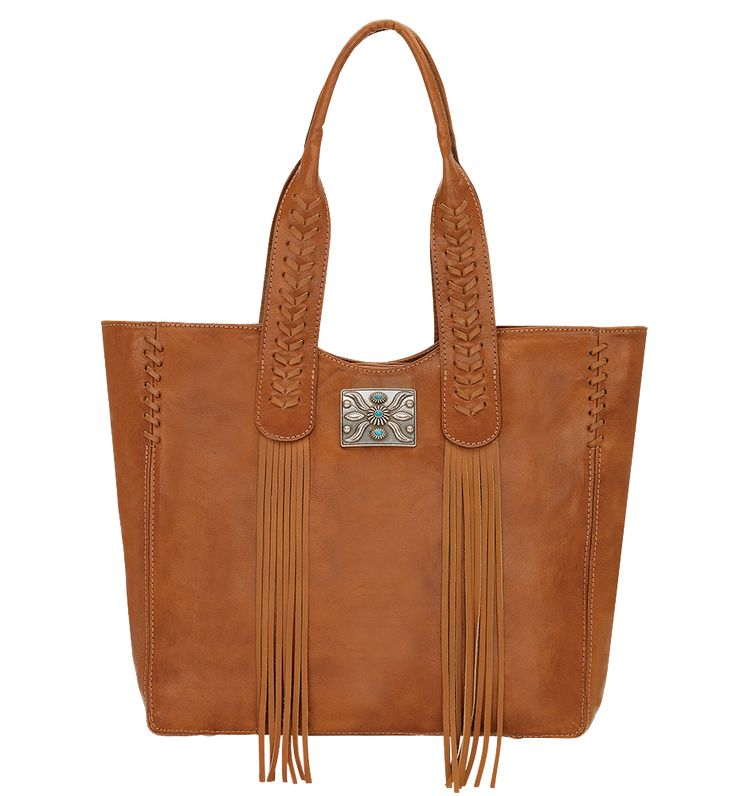 Women's Large Zip-top Tote w/ Back Cell Phone Pocket & Leather Lacing - Golden Tan