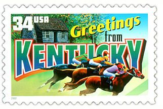 The Kentucky State Postage Stamp  Depicted above is the Kentucky state 34 cent stamp from the Greetings From America commemorative stamp series. The United States Postal Service released this stamp on April 4, 2002. The retro design of this stamp resembles the large letter postcards that were popular with tourists in the 1930's and 1940's.