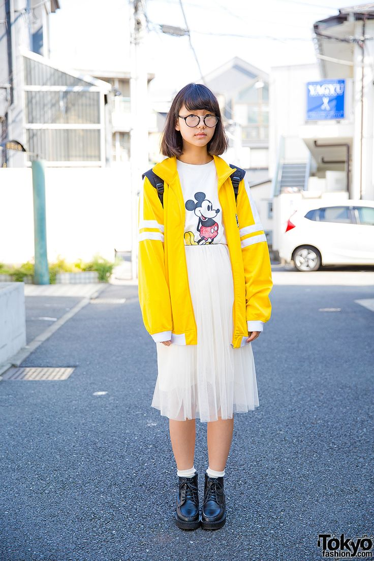 Harajuku Girl in Yellow Jacket & Sheer Skirt