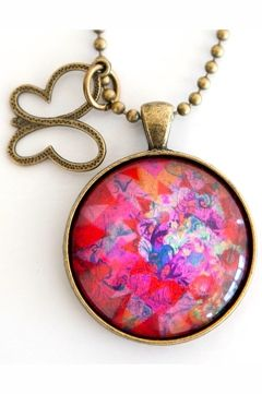 Nest Of Pambula Pink Graffiti Pendant W Sweet Butterfly Charm - Womens Necklaces - For everything but the girl