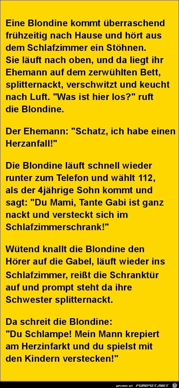 lustiges Bild 'eine Blondine kommt früher nach Hause......jpg' von Edith. Eine von 11217 Dateien in der Kategorie 'klasse Sprüche und Witze' auf FUNPOT.