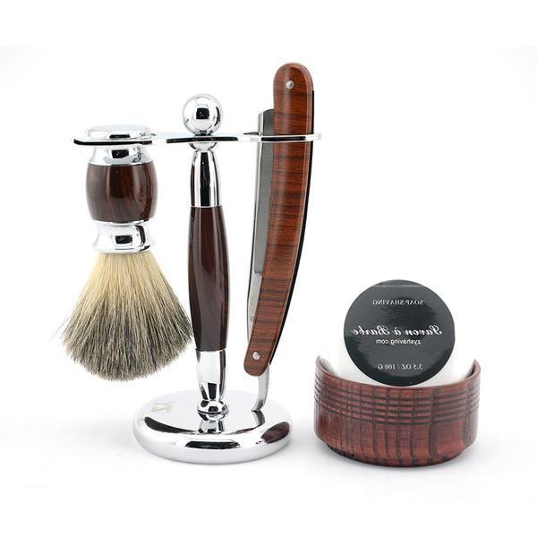 Straight razor shaving set includes folding razor,razor stand , genuine badger hair brush , wood bowl, soap. Free Shipping & Tracking with Epacket. 14-2