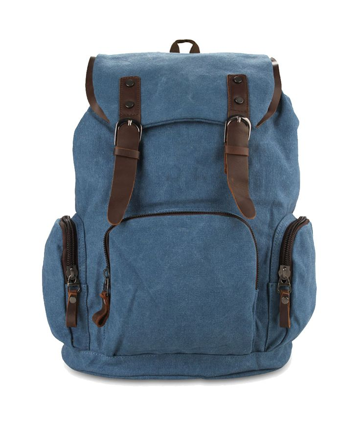 Rocco Backpack by Palomino. Bacpack with blue color, made of canvas and has front and side pockets, spacious compartment, buckle closure, this backpack has gadget sleeve, laptop sleeve, drawstring accent, perfect for school or short holiday.   http://www.zocko.com/z/JKW2c