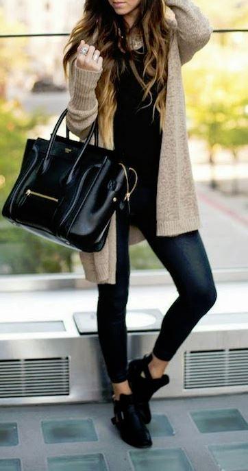 fall fashion all black beige cardigan