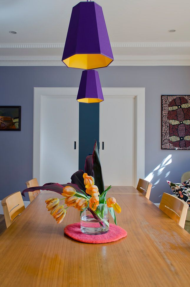 Artist's House Roseville - Swan Studio Interior Design | dining room purple pendant lights