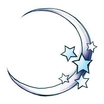 Crescent moon with stars fake tattoo. #moon #stars