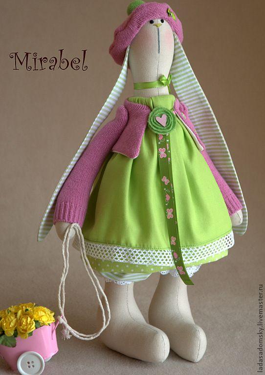 Зайка Mirabel - зелёный,салатовый,розово-салатовый,зайка девочка,интерьерная игрушка