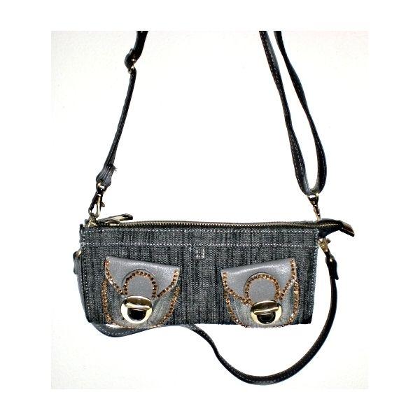 Denim handbag with rhinestones